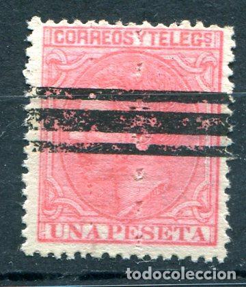 EDIFIL 207 A S. 1PTA ALFONSO XII, BARRADO Y CON TALADRO RULETA VERTICAL (Sellos - España - Otros Clásicos de 1.850 a 1.885 - Nuevos)