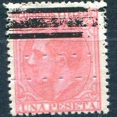 Sellos: EDIFIL 207 A S. 1PTA ALFONSO XII, BARRADO Y CON TALADRO RULETA HORIZONTAL. Lote 193277118