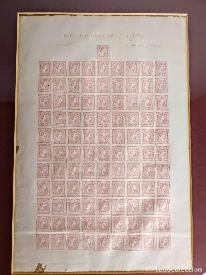 PLIEGO DE 100 SELLOS CARLOS VII, 1874, EJÉRCITO REAL DE CATALUÑA. CARLISTAS. (Sellos - España - Otros Clásicos de 1.850 a 1.885 - Nuevos)