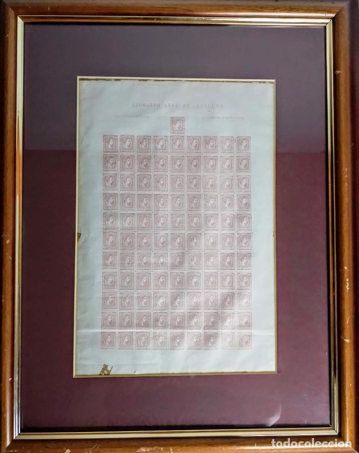 Sellos: Pliego de 100 sellos Carlos VII, 1874, Ejército real de Cataluña. Carlistas. - Foto 2 - 195003946