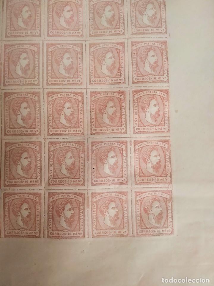 Sellos: Pliego de 100 sellos Carlos VII, 1874, Ejército real de Cataluña. Carlistas. - Foto 4 - 195003946