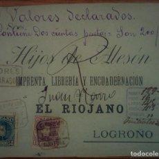 Sellos: ALFONSO XIII CADETE TARRAGONA CATALUÑA VALOR DECLARADO ESPAÑA 1902. Lote 195347143