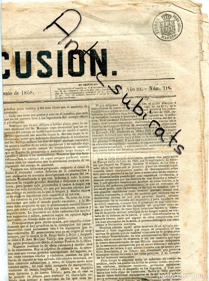 TIMBRE PARA PERIODICOS ENTERO SELLOS CATALOGO EDIFIL NUMERO 1 LLAMADO LA DISCUSION AÑO 1858 ENTERO (Sellos - España - Otros Clásicos de 1.850 a 1.885 - Cartas)