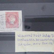Sellos: SELLO CUATRO CUARTOS ROJO SOBRE FRAGMENTO FERROCARRIL LANGREO. BONITO Y RARO. Lote 205405441