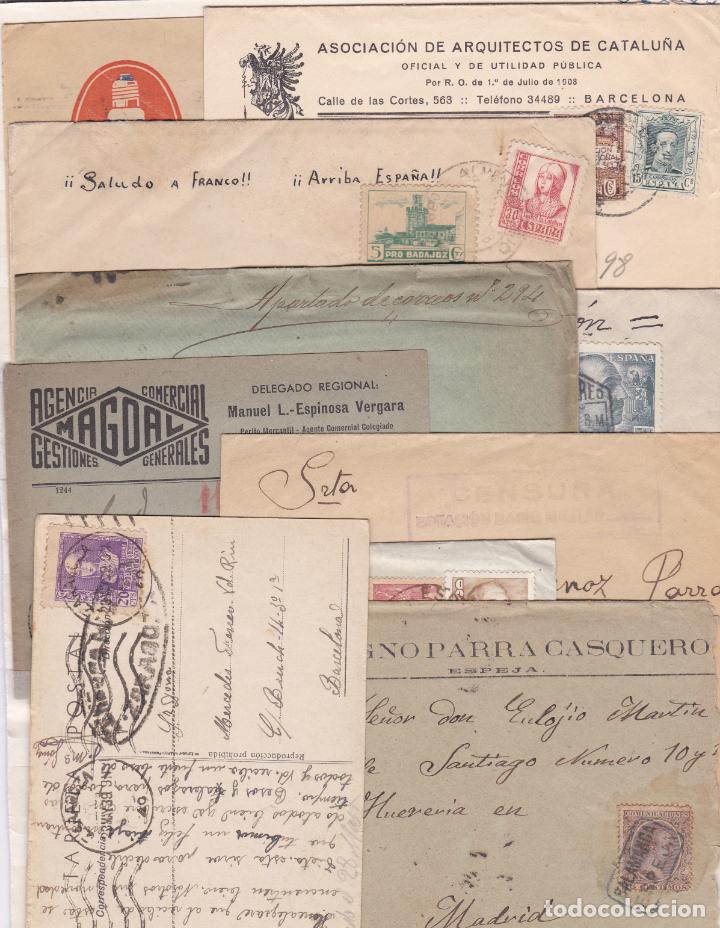 LOTE DE 10 CARTAS CON MATASELLOS, CARTERIAS, CENSURAS Y FECHADORES DISTINTOS (VER DESCRIPCIÓN) (Sellos - España - Otros Clásicos de 1.850 a 1.885 - Cartas)