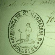Sellos: CERTIFICADO DE DEFUNCIÓN MANUSCRITO SIGLO XIX SELLO FISCAL 11 1881 50CTS PESETA MATA SELLOS BONASTRE. Lote 216460010