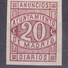 Timbres: JJ5 - FISCALES LOCALES MADRID. ANUNCIOS DIARIOS 20 CTS ** SIN FIJASELLOS. Lote 225218590