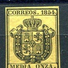 Sellos: EDIFIL 28. MEDIA ONZA, ESCUDO DE ESPAÑA. AÑO 1854. NUEVO SIN FIJASELLOS PERO GOMA CUARTEADA.. Lote 227554590