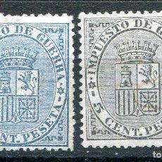 Sellos: EDIFIL 141/142. SERIE COMPLETA DE ESCUDO DE ESPAÑA, AÑO 1874. NUEVOS SIN GOMA.. Lote 233903115