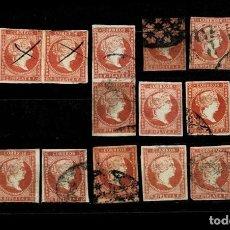 Francobolli: 4C-1 CUBA ISABEL II CONJUNTO DE 18 EJEMPLARES EDIFIL Nº ANT. 9 VALOR 2 REALES COLOR ROJO ALGUNO CON. Lote 238756830