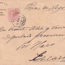 Sellos: ESPAÑA. CARTA CIRCULADA DE IRÚN A EZCARAY CON SELLO DE 15 CTS DE ALFONSO XII. Lote 245622150
