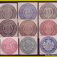 Selos: FISCALES, 9 SELLOS DIFERENTES DE PAPEL TIMBRADO (O). Lote 249067760