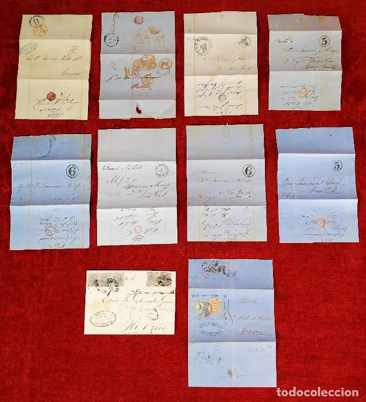 COLECCIÓN DE CARTAS NAVALES CON TAMPONES DE FECHA. EUROPA-PUERTO RICO-U.S.A. CIRCA 1850 (Sellos - España - Otros Clásicos de 1.850 a 1.885 - Cartas)