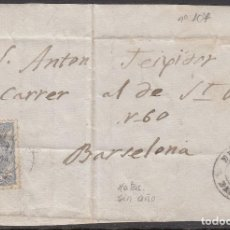 Sellos: FRONTAL CON NUM. 107 Y FECHADOR NEGRO SIN AÑO DE BERGA A BARCELONA. Lote 255533990