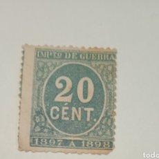 Sellos: SELLO 20 CENTIMOS IMPUESTO DE GUERRA 1897 88. Lote 257552235