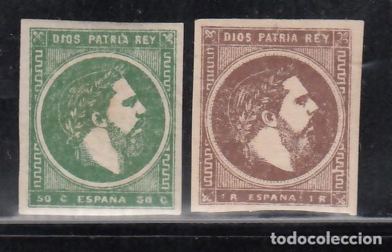 ESPAÑA, CORREO CARLISTA, 1875 EDIFIL Nº 160 / 161 /*/, CARLOS VII, (Sellos - España - Otros Clásicos de 1.850 a 1.885 - Nuevos)