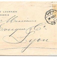 Sellos: ALFONSO XII EDIFIL 206 50 CENTIMOS ENVUELTA DE MADRID A LYON - FRANCIA 1884. Lote 266878739