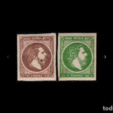 Sellos: ESPAÑA - 1875 - CARLOS VII - EDIFIL 160/161 - MH* - NUEVOS - SERIE COMPLETA.. Lote 273546693