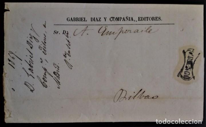 FRANCO MADRID 1885 A BILBAO PRECIOSA CON PUBLICIDAD INTERIOR EDITORES LIBRERO LIBRERÍA RARO (Sellos - España - Otros Clásicos de 1.850 a 1.885 - Cartas)