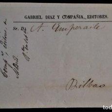 Sellos: FRANCO MADRID 1885 A BILBAO PRECIOSA CON PUBLICIDAD INTERIOR EDITORES LIBRERO LIBRERÍA RARO. Lote 276148388
