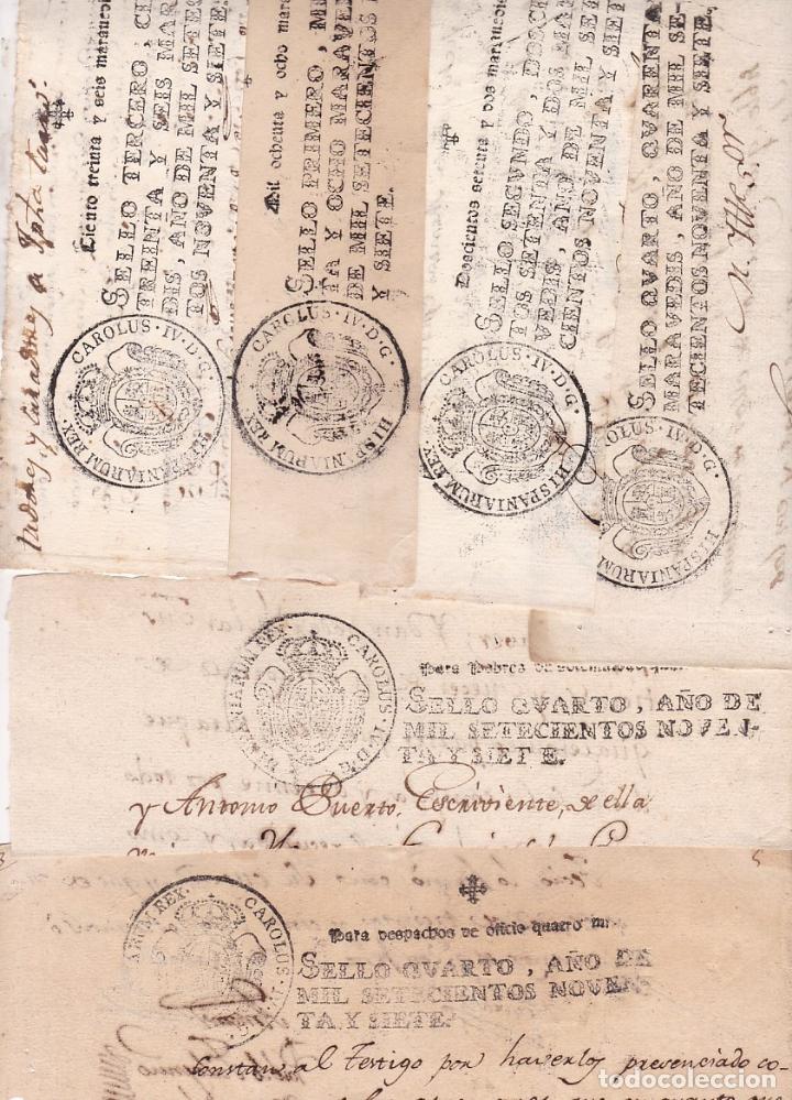 GP33- FISCALES PAPEL SELLADO CARLOS IV. SERIE COMPLETA 6 VALORES 1797 (Sellos - España - Otros Clásicos de 1.850 a 1.885 - Usados)