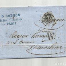 Sellos: CIRCULADA Y ESCRITA 1859 DE PARIS A BARCELONA. Lote 290161798