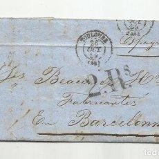 Sellos: CIRCULADA Y ESCRITA 1859 DE TOULOUSE FRANCIA A BARCELONA BARCELONNE. Lote 290162333