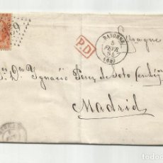 Sellos: CIRCULADA Y ESCRITA 1864 DE BAYONNE FRANCIA A MADRID. Lote 290165478