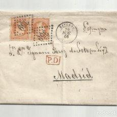 Sellos: CIRCULADA Y ESCRITA 1866 DE BAYONNE FRANCIA A MADRID. Lote 290167058