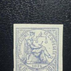 Sellos: AÑO 1874 ALEGORÍA DE LA JUSTICIA SELLO NUEVO EDIFIL 145 VALOR DE CATALOGO 23,00 EUROS. Lote 294114143