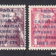 Sellos: ESPAÑA, 1951 EDIFIL Nº 1088 / 1089 /*/ VISITA DEL CAUDILLO A CANARIAS. Lote 294453228