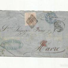 Sellos: CIRCULADA Y ESCRITA 1871 DE BILBAO A LE HAVRE FRANCIA. Lote 295041998