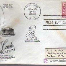 Selos: SOBRE DE PRIMER DIA- A.LINCOLN -AMERICAN CREDO 1960. Lote 15951539