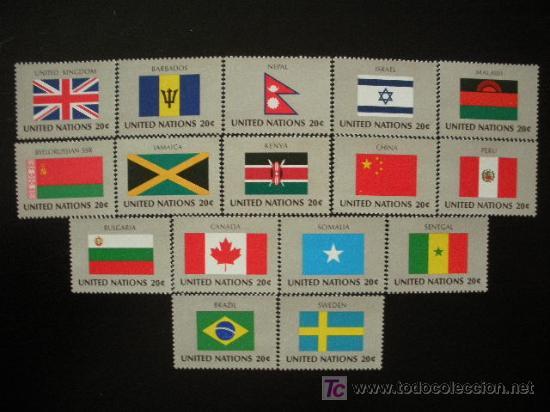 NACIONES UNIDAS NEW YORK 1983 IVERT 390/405 *** BANDERAS DE PAISES MIEMBROS DE LA ONU (IV) (Sellos - Extranjero - América - Estados Unidos)