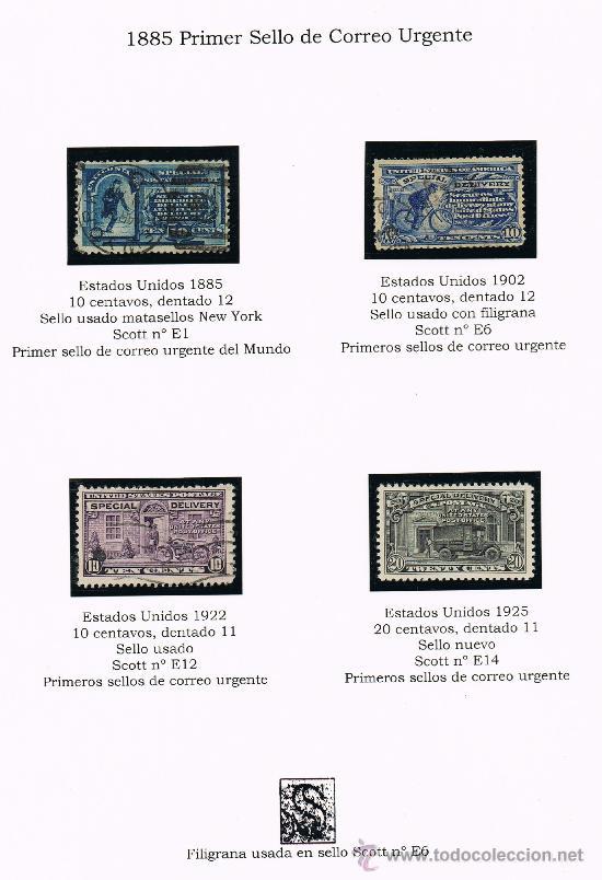 1885 EEUU PRIMEROS SELLOS DE CORREO URGENTE DEL MUNDO (Sellos - Extranjero - América - Estados Unidos)