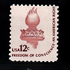 Sellos: ESTADOS UNIDOS 1307** - AÑO 1981 - SÍMBOLOS DE LA DEMOCRACIA - ANTORCHA DE LA ESTATUA DE LA LIBERTAD. Lote 172187449