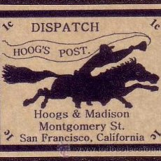 Sellos: EE.UU. 1C. DISPATCH/HOOG´S POST/HOOGS & MADISON/MONTGOMERY ST./SAN FRANCISCO. CALIFORNIA. MAGNÍFICO.. Lote 41385933