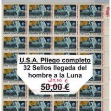 Sellos: 1969 LLEGADA DEL HOMBRE A LA LUNA PLIEGO COMPLETO. Lote 42510393