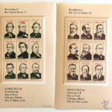 Sellos: ESTADOS UNIDOS. 4 HOJITAS CON 36 PRESIDENTES. AMERIPEX 86.. Lote 43211696