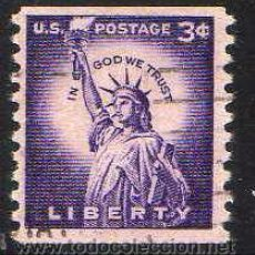 Sellos: ESTADOS UNIDOS: 1954 ESTATUA DE LA LIBERTAD N.581A DENT.10 VERTICAL USADO. Lote 44433249
