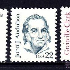 Sellos: ESTADOS UNIDOS 1564/66** - AÑO 1990 - AMERICANOS CÉLEBRES - S. LEWIS - J.J. AUDUBON - G. CLARK. Lote 210798416