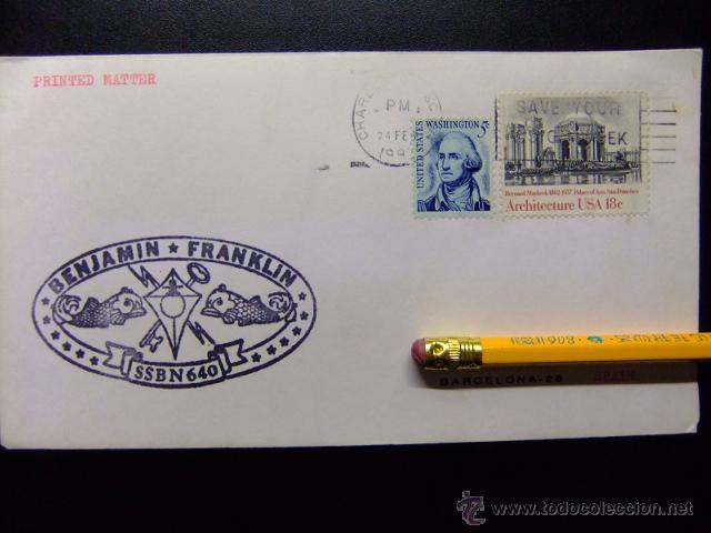 SUBMARINO SUBMARINE BENJAMIN FRANKLIN SSBN 640 (Sellos - Extranjero - América - Estados Unidos)