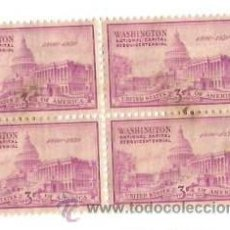 Sellos: BLOQUE 4. UNITED STATES POSTAGE, WASHINGTON. NATIONAL CAPITAL SESQUICENTENNIAL 1800 1950. CHARNELA.. Lote 53733150