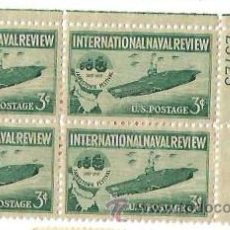 Sellos: BLOQUE 4. UNITED STATES POSTAGE. INTERNATIONAL NAVAL REVIEW. JAMESTOWN FESTIVAL. 1907 1957. NUEVOS. Lote 53733427
