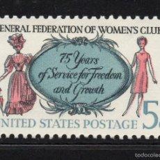 Sellos: ESTADOS UNIDOS 809** - AÑO 1966 - 75º ANIVERSARIO DE LA FEDERACION GENERAL DE CLUB FEMENINOS. Lote 128661851