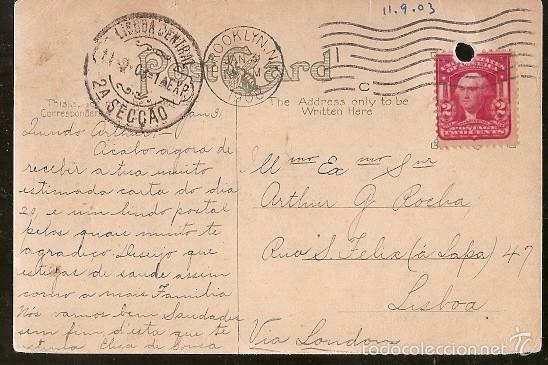 ESTADOS UNIDOS & HORSE SHOE CURVE, HILLSIDE, WEST HOBOKEN, BROOKLYN, VIA LONDRES, LISBOA 1908 (11) (Sellos - Extranjero - América - Estados Unidos)