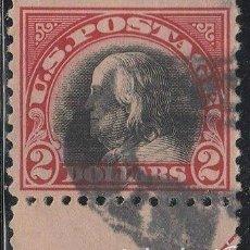 Sellos: ESTADOS UNIDOS . BENJAMIN FRANKLIN. 2 $. ROJO- NEGRO. 1918-19. IVERT .222. D.11. CV: 45 €. *. MH. Lote 63995307