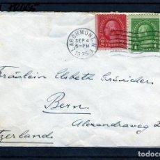Sellos: EEUU, ESTADOS UNIDOS, SOBRE ENVIADO A BERNA, SUIZA 1935 SELLOS DEL PRESIDENTE GEORGE WASHINGTON. Lote 64782043