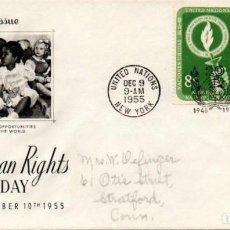 Sellos: NACIONES UNIDAS - NEW YORK - 38/39 - 1955 DÍA DE LOS DERECHOS HUMANOS, SPD. Lote 81749684