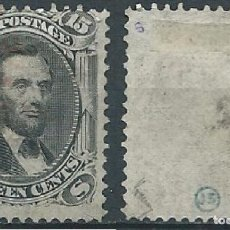 Sellos: USA 1867 WITH EF GRILL LINCOLN E GRILL SIZE: 11X13MM 15C USED SC 91 YV 28 MI 22W SG 93. Lote 41772649